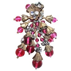 Unsigned Miriam Haskell- Frank Hess Dress Clip - Fur Clip | Cranberry Glass and White Rhinestone Beads | Gilt Brass Findings