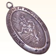 Vintage STERLING SILVER Religious Medal/Charm by Chapel - Saint Christopher!