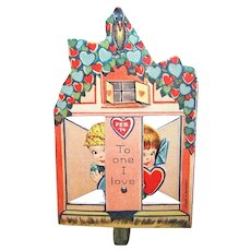 Art Deco Mechanical Valentines Day Card - Boy & Girl Hiding Behind Partition | To One I Love