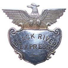 Vintage S G Adams & Co St Louis MO Silver Colored Badge for Black River Express | Train Collectible