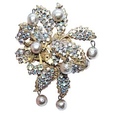 Miriam Haskell Yellow Gold Tone Metal AB Rhinestone & Faux Pearl Floral Pin/Brooch