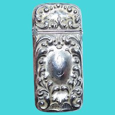 Art Nouveau Sterling Silver Repousse Match Safe - Vesta Case | Repousse Curlicues - Engraved Initial G