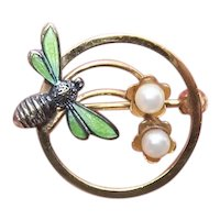 Wells Gold Filled Enamel Pin Brooch - Bee with 2 Cultured Pearls