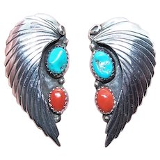 Native American Navajo Sterling Silver Turquoise Red Coral Earrings | Pierced Earrings | Feather Design