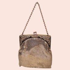 Whiting & Davis Gold Tone Metal Mesh Evening Bag Handbag Purse | Openwork Etched Floral Frame
