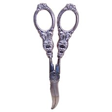 Thorvald Marthinsen Norway Sterling Silver/Stainless Steel Grape Shears Scissors Flower Cutters