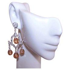 Sterling Silver Cubic Zirconia CZ Crystal Chandelier Earrings   Cognac Hue   Dangle Earrings   Pierced Earrings