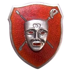 R Blackinton & Co Sterling Silver Red Enamel Member Pin  | Face Mask over Crossed Weapons