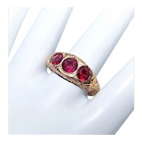 Antique Edwardian 14K Rose Gold 1.28CT TW Red Tourmaline 3-Stone Gypsy Ring Curlicue Etched Front Engraved Initials to Inside KB to AP