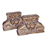 Set/2 Art Deco Bookends - Della Robbia Fruit Design - Gilt Wood with Touches of Color