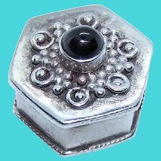 Made in Mexico Mexican Sterling Silver Black Onyx Mini Pill Box Container