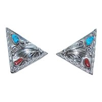 Native American Navajo Sterling Silver Turquoise Red Coral Shirt Collar Tips - Collar Ends