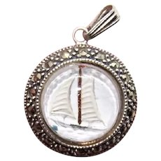 Sterling Silver Marcasite Reverse Painted Sailing Ship Pendant
