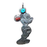 Native American Indian Sterling Silver Turquoise Red Coral Pendant of Mickey Mouse