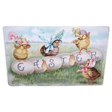 Raphael Tuck & Sons Easter Postcard - Chicks in Easter Bonnets | Easter Greetings