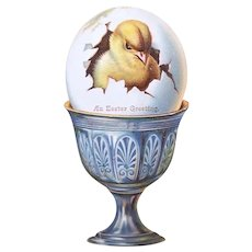 Victorian Die Cut - Easter Chick in Egg | An Easter Greeting