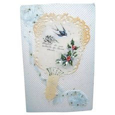 Antique French Postcard with Handpainted Celluloid Fan and Blue Ribbon