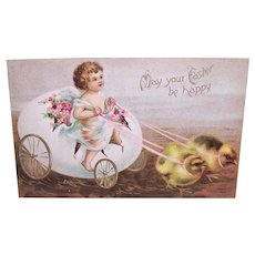 Postally Used 1908 Easter Postcard - Angel Riding in Eggshell Carriage Pulled by Chicks | Happy Easter