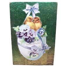 Postally Unused Easter Postcard - Foil Backed Die Cut | Easter Chicks in Pansy Bedecked Easter Egg