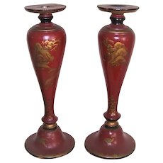 Pr C.1950 Painted Wood Red Gold Black Chinoiserie Candle Sticks Candleholders Candle Holders