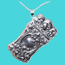 Sterling Silver Repousse Match Holder Match Container | Chatelaine Piece | Sterling Silver Pendant