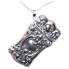 Sterling Silver Repousse Match Holder Match Container   Chatelaine Piece   Sterling Silver Pendant