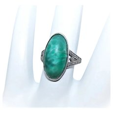 Art Deco Sterling Silver Green Art Glass Fashion Ring
