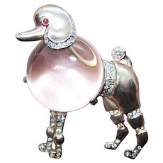 Alfred Philippe Crown Trifari Sterling Silver Rhinestone Jelly Belly Poodle Dog Pin Brooch | Rose Gold Vermeil
