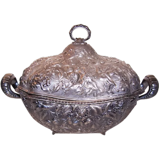 Antique Theodore B Starr Repousse Sterling Silver Covered Serving Tureen - Casserole Container - 50 Troy Ounces