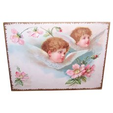 Fleischmann's Yeast - Pair of Angels with Cherry Blossoms | Victorian Trade Card | Antique Religious Image
