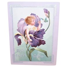 Antique Easter Greeting Card - Best Easter Wishes - Angel Inside Purple Iris