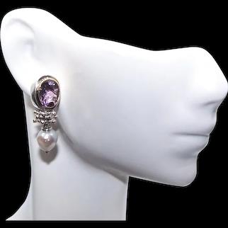 Sterling Silver 14K Gold Amethyst & Pearl Drop Earrings | Pierced Earrings