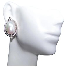 Etta Endito Native American Navajo Sterling Silver Blister Pearl Pierced Earrings | Southwestern Design | Posts with Nuts