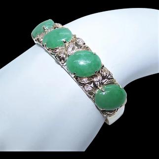 "Made in Hong Kong Chinese 18K Gold Apple Green Jade Jadeite Cab Snake Link Bracelet | 6.75"" Wearable Length"