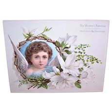 Wisdom's Robertine for the Complexion - Extra Large Victorian Trade Card | Brunette Angel with White Lilies