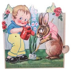 Unused Lg Art Deco Made in Germany German Mechanical Easter Card - Little Boy with Easter Bunny | In the Garden