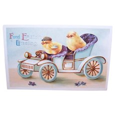Postally Unused Postcard - Fond Easter Greetings | Chicks in a Model T Automobile