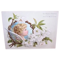 Wisdom's Robertine for the Complexion - Extra Large Victorian Trade Card | Blonde Angel with White Blossoms