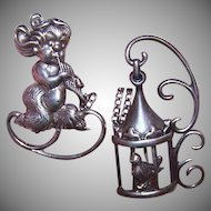Adorable 2-Part STERLING SILVER Pin Set by Lang!