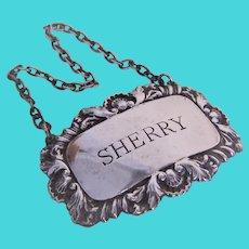 SJ Rose & Son London 1966 Sterling Silver Drinks Label - Decanter Label for Sherry