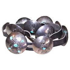 1940s Native American Navajo Sterling Silver Turquoise Concha Belt - Engraved Thunderbird Design