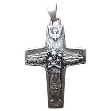 Vedele Made in Italy Italian Sterling Silver Religious Cross Pendant - Jesus Christ as Shepherd | Dove of Peace