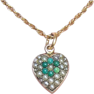 Antique Victorian 14K Gold Turquoise Natural Pearl Puffy Heart Charm - Engraved GIR to MOR