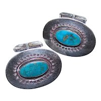 Native American Navajo Sterling Silver Turquoise Cufflinks Cuff Links