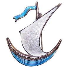 Vintage STERLING SILVER  Pin - Ivar Holth, Norway, Enamel, Ship, Scandinavian