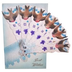 Made in Germany German Flocked Paper Folding Fan Best Wishes Postcard - French Hirondelles aka Swallows