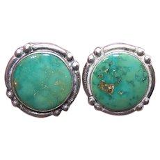 Native American Sterling Silver Turquoise Screwback Earrings - Fred Harvey Era of Jewelry