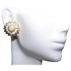 14K Gold Sunflower Earrings - Pierced Earrings Posts with Nuts | Classic Sunflower Design