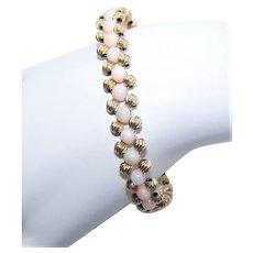 Sterling Silver Vermeil Angel Skin Coral Bracelet - Hand Beaded | Rose Gold Overlay