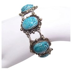 Made in Egypt Egyptian Silver Link Bracelet with Blue Faience Scarab Cabs